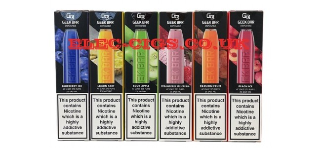 Image shows several of the flavours available in the Geek Bar Disposable E-Cigarette Range