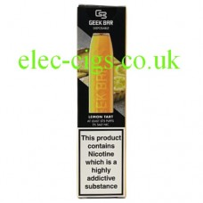 Image shows the box containing the Geek Bar Disposable E-Cigarette Lemon Tart