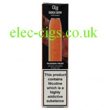 Image shows the box containing the Geek Bar Disposable E-Cigarette Passion Fruit