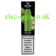 Image shows the box containing the Geek Bar Disposable E-Cigarette Sour Apple