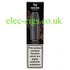Image shows a Geek Bar Disposable E-Cigarette Tobacco