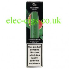 Image shows the box containing the Geek Bar Disposable E-Cigarette Watermelon Ice