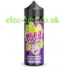 Image shows a bottle of Head Fockin Menthol 70-30 Blackcurrant Blue Raspberry Menthol E-Liquid