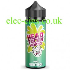 Image shows a bottle of Head Fockin Menthol 70-30 Mint Menthol E-Liquid