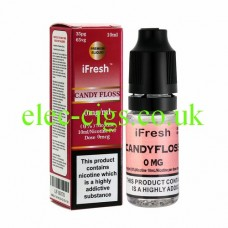 Image shows a bottle and box on a white background of Candyfloss 10 ML E-Liquid by iFresh