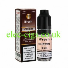 Image shows a bottle and box on a white background of Cherry 10 ML E-Liquid by iFresh