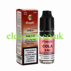 Image shows a bottle and box on a white background of Cola 10 ML E-Liquid by iFresh