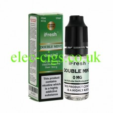 Image shows a bottle and box on a white background of Double Mint 10 ML E-Liquid by iFresh