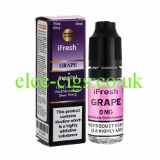 Image shows a bottle and box on a white background of Grape 10 ML E-Liquid by iFresh