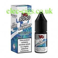 image shows a box and bottle of IVG Blue Raspberry 10 ML E-Liquid