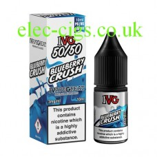 image shows a box and bottle of IVG Blueberry Crush 10 ML E-Liquid