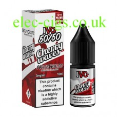 image shows a box and bottle of IVG Cherry Waves 10 ML E-Liquid