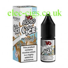 image shows a box and bottle of IVG Cola Ice 10 ML E-Liquid
