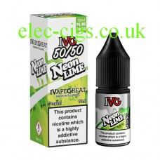 image shows a box and bottle of IVG Neon Lime 10 ML E-Liquid