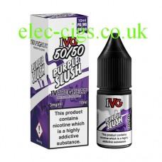 image shows a box and bottle of IVG Purple Slush 10 ML E-Liquid