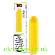 Image shows the box and the actual device of the IVG Bar Exotic Mango