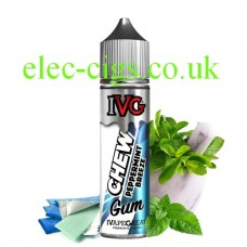 Image shoe a bottle of IVG Chew Range: Peppermint Breeze 50 ML E-Liquid with lots of ice mint leaves and menthol