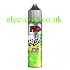 On a white background sits a bottle of IVG Classics Range: Neon Lime 50 ML E-Liquid