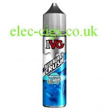 image shows a bottle of IVG Menthol Range: Blueberry Crush 50 ML E-Liquid