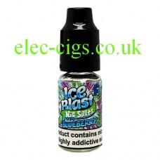 image shows a bottle of Ice Blast 10ML Nicotine Salt E-Liquid: Iced Blueberry