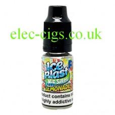 image shows a bottle of Ice Blast 10ML Nicotine Salt E-Liquid: Iced Lemonade