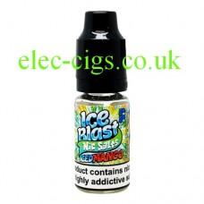 image shows a bottle of Ice Blast 10ML Nicotine Salt E-Liquid: Iced Mango