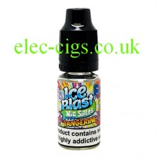 image shows a bottle of Ice Blast 10ML Nicotine Salt E-Liquid: Iced Tangerine
