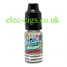 Image shows a bottle of Ice Blast 10ML Nicotine Salt E-Liquid: Iced Watermelon