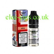 Images shows a box and bottle of Apple 10 ML E-Liquid from Inspired Vapour