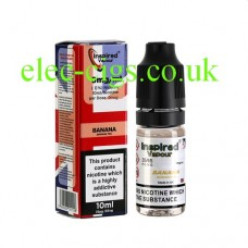Image shows a box and bottle of Banana Pie 10 ML E-Liquid by Inspired Vapour