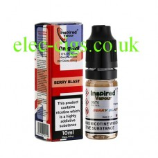Image shows a bottle and box, on a white background, of  Berry Blast 10 ML E-Liquid from Inspired Vapour