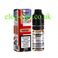 Image shows a bottle and box, on a white background, of  Berry Mix Tropical 10 ML E-Liquid from Inspired Vapour