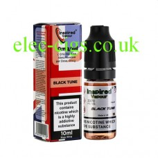Image shows a bottle and box, on a white background, of Black Tune  10 ML E-Liquid from Inspired Vapour