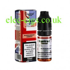 Image shows a bottle and box, on a white background, of Blackcurrant Chewits 10 ML E-Liquid from Inspired Vapour
