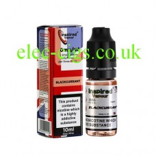 Image shows a bottle and box, on a white background, of Blackcurrant 10 ML E-Liquid from Inspired Vapour