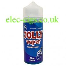 Image is of a bottle of Blue Slush 100 ML E-Liquid from Jolly Vaper