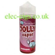 Image shows a bottle of Bubble Gum 100 ML E-Liquid from Jolly Vaper