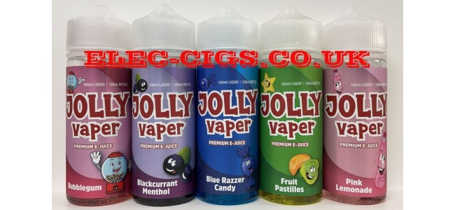 Showing just a few of the wonderful flavours in the Jolly Vaper 100 ML E-Liquids 60-40 (VG/PG) Range