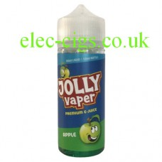 Image shows a bottle of Apple 100 ML E-Liquid from Jolly Vaper on a white background