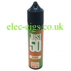 image shows a bottle of Just 50 Mango E-Liquid