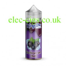 Image is a bottle, with a purple label containing Kingston 100 ML ChillRange 70-30 Blackcurrant Chill E-Liquid