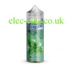 Image is a bottle with a green label containing Kingston 100 ML ChillRange 70-30 Menthol Chill E-Liquid