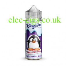 Image shows a bottle and box, on a white background, of  Kingston 100 ML Chilly Willies Range 70-30 Blackcurrant Slush E-Liquid