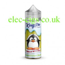 Image shows a bottle and box, on a white background, of  Kingston 100 ML Chilly Willies Range 70-30 Lemon and Lime Slush E-Liquid