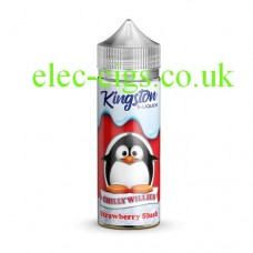 Image shows a bottle with a cartoon penguin on the label with Kingston 100 ML Chilly Willies Range 70-30 Strawberry Slush E-Liquid
