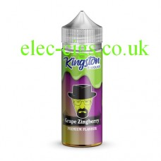 Image of a purple and green labelled bottle with the picture of a man with hat, glasses and a beard containing Kingston 100 ML Zingberry Range 70-30 Grape Zingberry E-Liquid