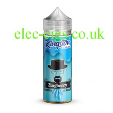 A bottle, with a blue label with a man's face on it containing Kingston 100 ML Zingberry Range 70-30 ZingberryE-Liquid