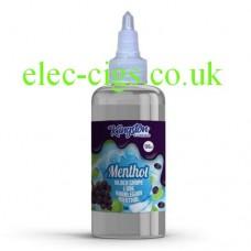 Image shows a bottle of Black Grape Lime Bubblegum Menthol 500 ML E-Liquid by Kingston