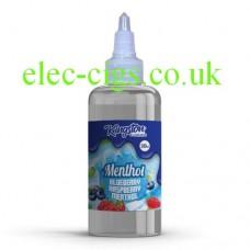 image shows a bottle of Blue Raspberry Menthol 500 ML E-Liquid by Kingston