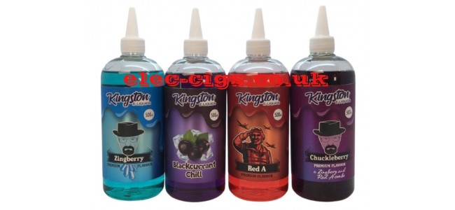 Image shows just four of the available flavours in the Kingston 500 ML E-Liquids range